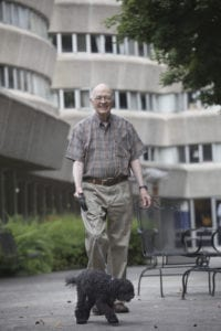Senior Adult man outside Wesley Woods Towers