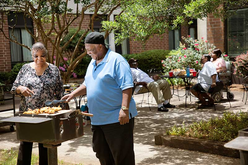 Grilling in the courtyard