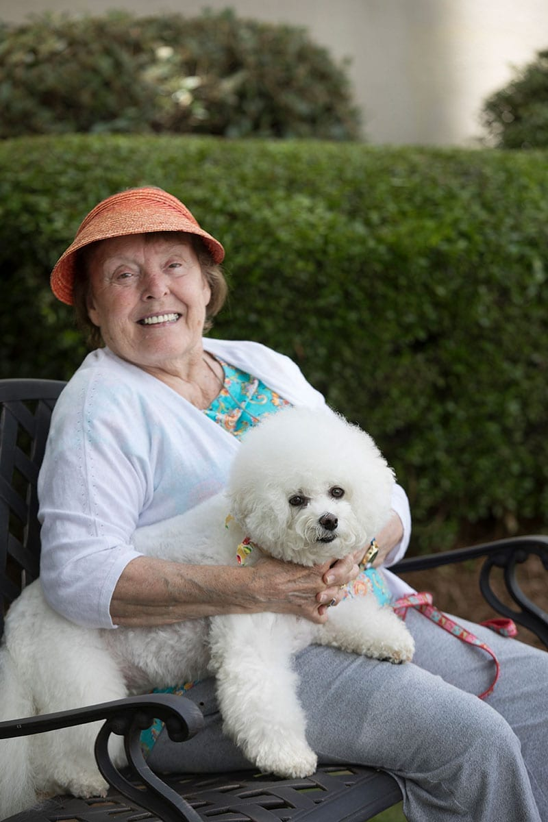 talmadge terrace resident with dog