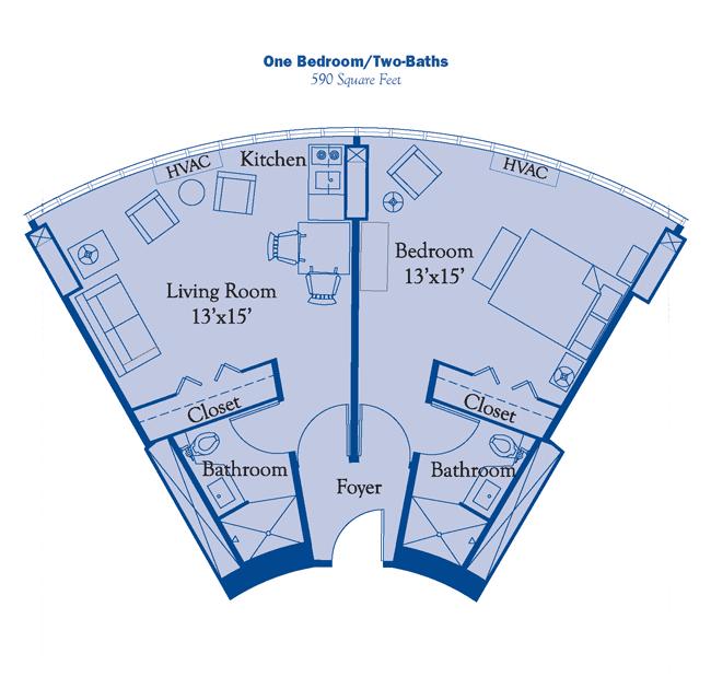 one bedroom two bath floor plan