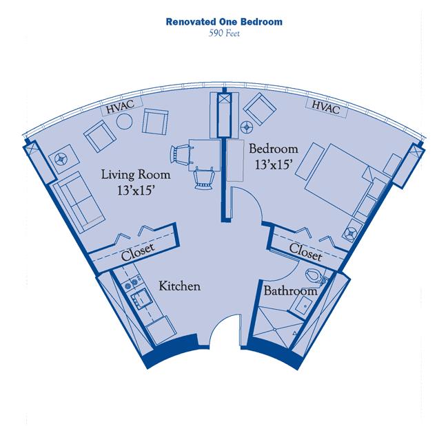 renovated one bedroom floor plan