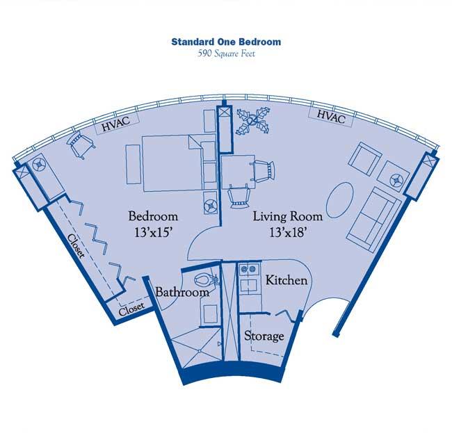 Standard One Bedroom Apartment Floor Plan